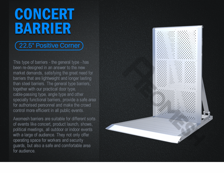 AEOBARRIER 22° Positive Angle Barrier Aluminium Crowd Control All Public Events